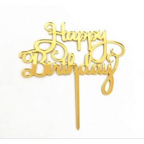 ป้ายปัก happy birthday สีเงิน