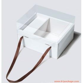 กล่อง gift box pvc 2ช่อง สีขาว
