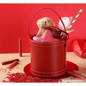 bucket gift setสีแดง (pu leather)