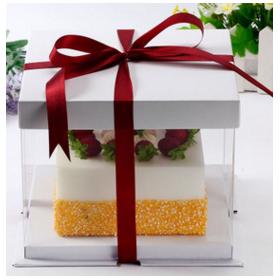 กล่องเค้ก pvc สีขาว (1ปอนด์)