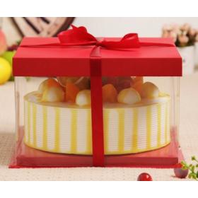กล่องเค้ก pvc สีแดง (4ปอนด์)