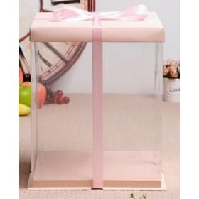 กล่องเค้กpvcสูงพิเศษ สีโอรส 4 ปอนด์
