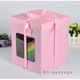 กล่องเค้กทรงสูงรุ่นกระดาษ เจาะหน้าต่าง สีชมพู 1ปอนด์
