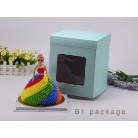 กล่องเค้กทรงสูงรุ่นกระดาษ เจาะหน้าต่าง สีเขียวจุดขาว 1ปอนด์