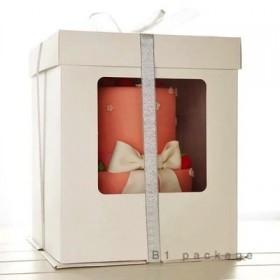 กล่องเค้กทรงสูงรุ่นกระดาษ 1ปอนด์ เจาะหน้าต่าง สีขาว