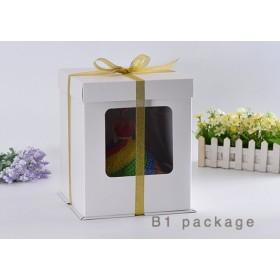กล่องเค้กทรงสูงรุ่นกระดาษ2ปอนด์ เจาะหน้าต่าง สีขาว
