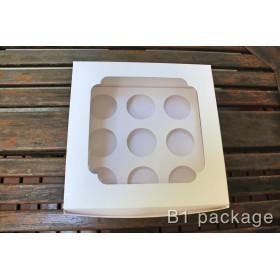 กล่องคัพเค้ก 9 ชิ้น ขาว พร้อมฐาน