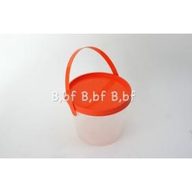 กระปุกพีพีหูหิ้วฝาส้ม450ml 15ใบ