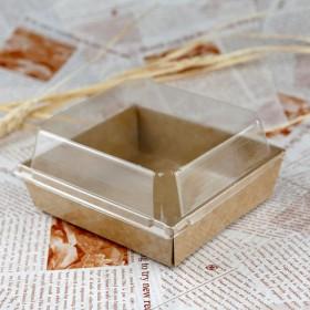 กล่องแซนวิช/takeaway จตุรัส กระดาษคราฟ 50ชุด