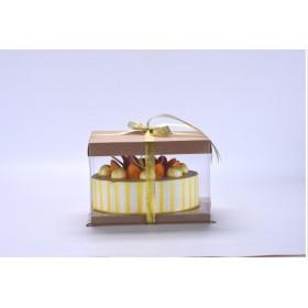 กล่องเค้ก pvc สีคราฟ (1ปอนด์)