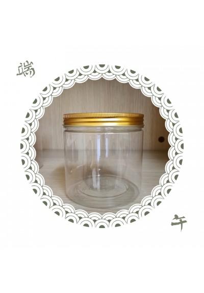 กระปุกขนม PET ฝาอลูทอง 100*100mm (10*10ซม)