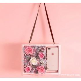 กล่อง gift box pvc 2ช่อง สีชมพู