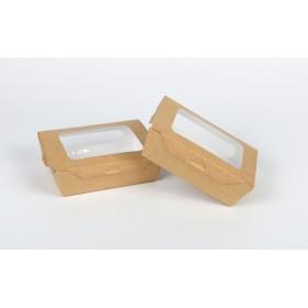 กล่องอาหารคราฟเจาะใส เบอร์1