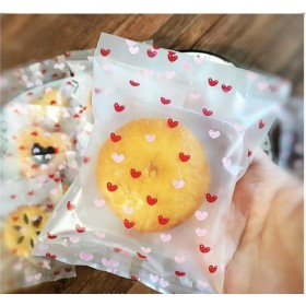 ถุงขนมซีล 8*11 ลายหัวใจ แพ็ค100ใบ