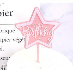 ป้ายปัก HAPPY BIRTHDAY ACRYLIC รูปดาว สีชมพู