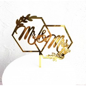 ป้ายปัก MR&MRS acrylic สีทอง