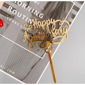 ป้ายปัก happy anniversary acrylic สีทอง