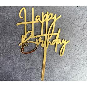 ป้ายปัก HAPPY BIRTHDAY ACRYLIC สีทอง