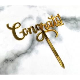 ป้ายปัก congrats สีทอง