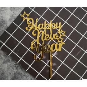 ป้ายปัก happy new year สีทอง