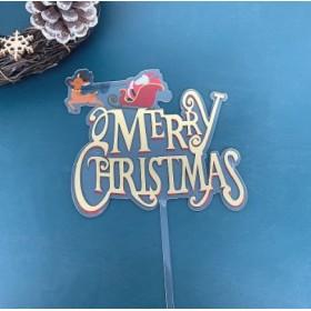 ป้ายปัก MERRY CHRISTMAS สีทอง การ์ตูน