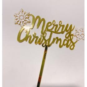 ป้ายปัก merry christmas สีทอง snowflake สีขาว