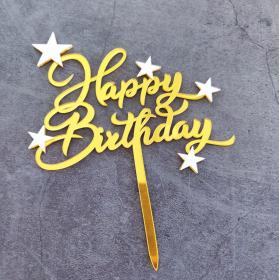 ป้ายปัก happy birthday acrylic สีทอง ดาวสีขาว