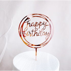 ป้ายปัก happy birthday acrylic สีชมพู