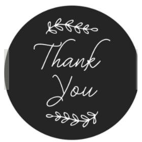 สติกเกอร์ thank you สีดำ 90ดวง