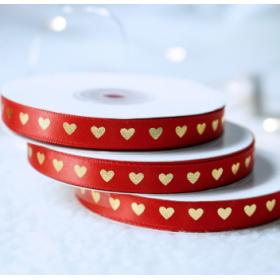 ริบบิ้น สีแดง พิมพ์ลายหัวใจทอง