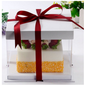 กล่องเค้ก pvc สีขาว  (2-3ปอนด์)