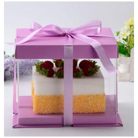 กล่องเค้กpvc สีชมพู (2-3ปอนด์)