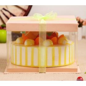 กล่องเค้ก pvc สีโอรส (4ปอนด์)