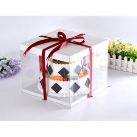 กล่องเค้กpvcสูงกลาง สีขาว2-3ปอนด์