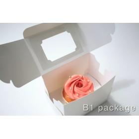 กล่องคัพเค้ก 1 ชิ้น ขาว พร้อมฐาน