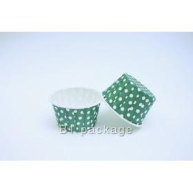ถ้วยอบคัพเค้ก 44/35 สีเขียวจุด