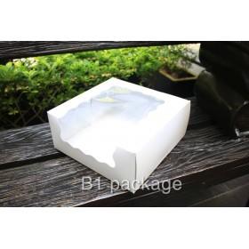 กล่องเค้ก 1 ปอนด์ เจาะล้ำข้าง สีขาว แพค20ใบ