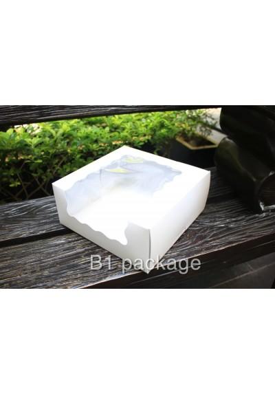 กล่องเค้ก 3 ปอนด์ เจาะล้ำข้าง สีขาว
