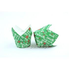 กระทงมัฟฟินทิวลิป สีเขียวลาย smile